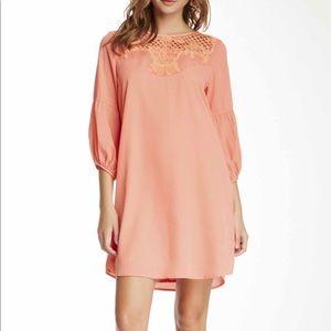 Coral Lace Panel Shift Dress